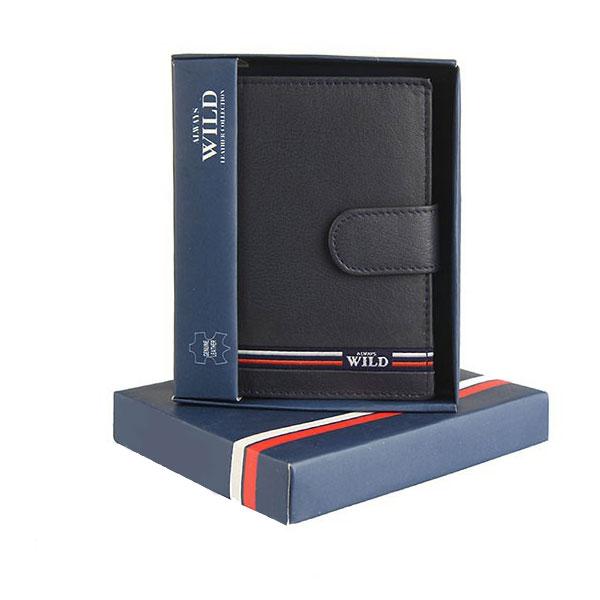 Pánska kožená peňaženka WILD + box   modrá 506e380dd36